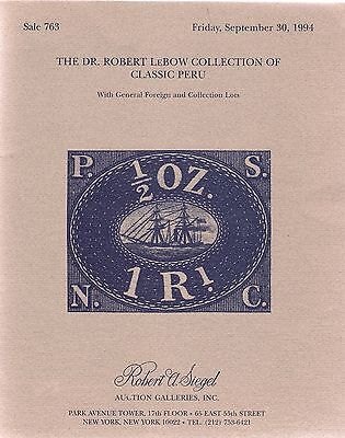 Classic PERU Auction Catalogue   Dr. Robert LeBow   Stamps Covers Postal History