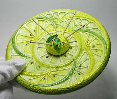 Vintage Retro BASSANO Italy POTTERY Serving PLATE * Citrus FRUIT Majolica Style