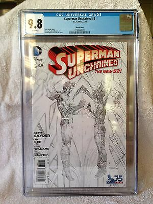 SUPERMAN UNCHAINED #5, JIM LEE 1:300 VARIANT, CGC 9.8, New, DC Comics (2014)