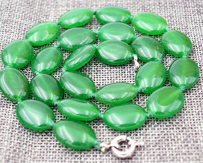 """Natural 13x18mm Green Emerald Gemstones Oval Beads Necklace 18"""" AAA"""