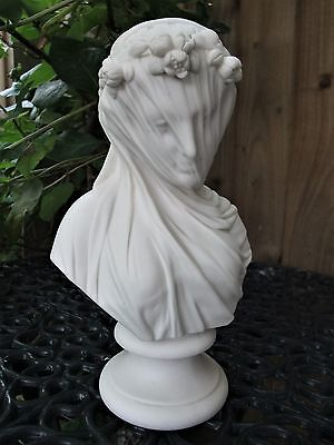 Antique 19Thc Fine  R&l Parian Bust Of The Veiled Bride After Monti C1861