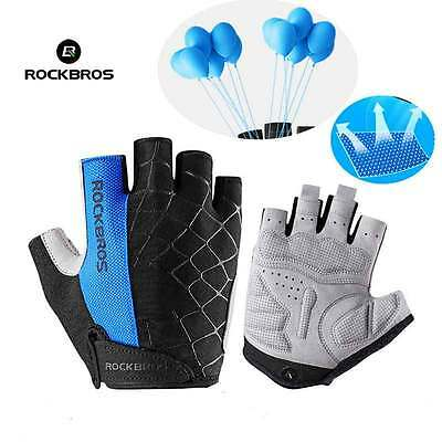 ROCKBROS Cycling Gel Half Finger Gloves Breathable MTB Bike Short Gloves Blue