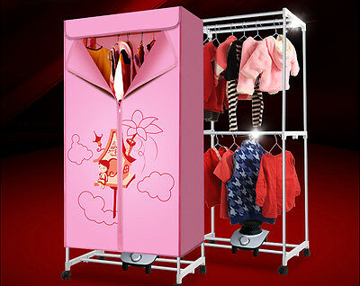 Pink Mute Home Portable Energy-saving Rotary Control Electric Air Clothes Dryer