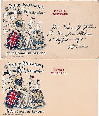 1898 Britannia Rules the Waves: Never Shall be Slaves (VERY RARE) 2 cards