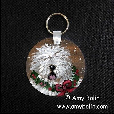 OLD ENGLISH SHEEPDOG OES CHRISTMAS TRADITIONS ROUND  key chain  by Amy Bolin
