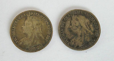 Two Queen Victoria Old Head Three Pence Coins 1896 + 1900