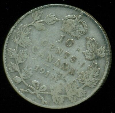 1911 Canada King George V, Sterling Silver Ten Cent