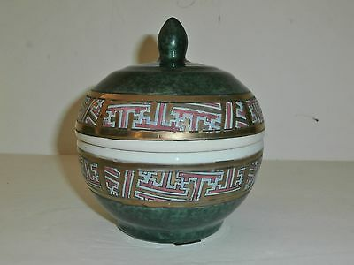 Asian Green and White Round Lidded Bowl, Hand painted