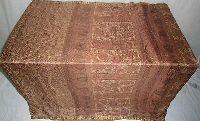 Pure silk Antique Vintage Sari Saree Fabric REUSE 4y 16dgi 6d07 Brown #ABCQP
