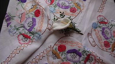 VINTAGE HAND EMBROIDERED tablecloth~ Large pansies on white linen