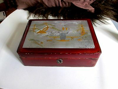 Antique Chinese Hand Lacquered Wooden  Box