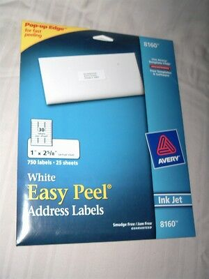 New Avery Ink Jet 8160 White Easy Peel Labels 720 Count
