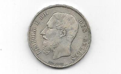 Belgium - Silver 5 Francs 1868 King Leopold Ii Crown/ Coin(Cns-837)
