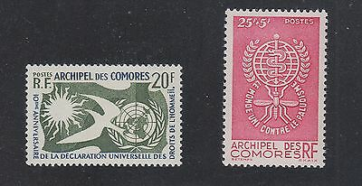 COMORO ISLANDS #44 Human Rights, B1 Anti Malaria SCV $19.00