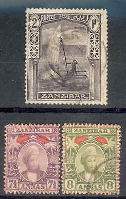 ZANZIBAR. 1898, 7-1/2a & 8a, + 1914, 2R. Fine Used. SEE ITEM SPECIFICS BELOW