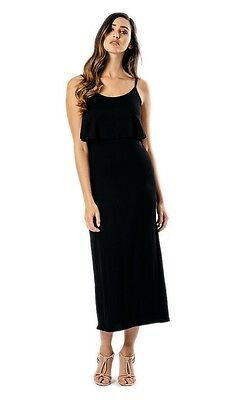 New Womens ladies gorgeous black strappy ruffle long summer maxi dress size 16