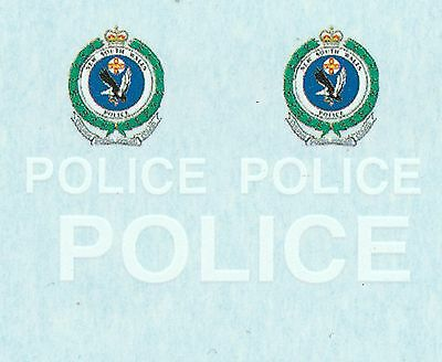 1:64 Waterslide decals POLICE NSW Australia (White set)