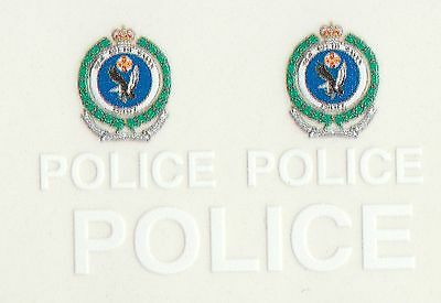 1:64 Peel & Stick Vinyl decals POLICE NSW Australia (White set)