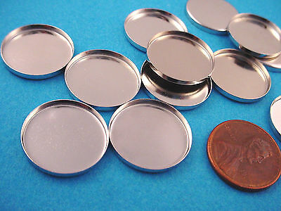 Silver Tone Round Bezel Cups 18mm High Wall - 12 Pieces