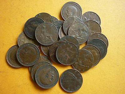 GT BRITAIN - 25 x GOOD COLLECTABLE GEORGE V FARTHINGS - 1911 - 1936