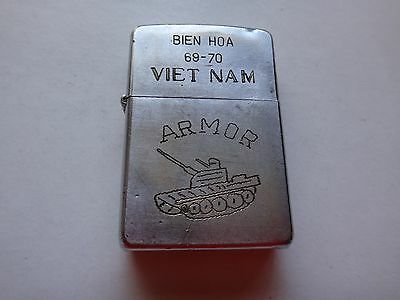 Vietnam War Year 1969 Zippo Lighter BIEN HOA 69-70 VIETNAM And ARMOR Tank Logo