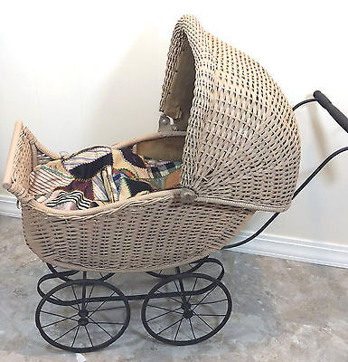 Antique 19thC Victorian Wicker Baby Buggy Stroller Pram Carriage Doll OLD VTG