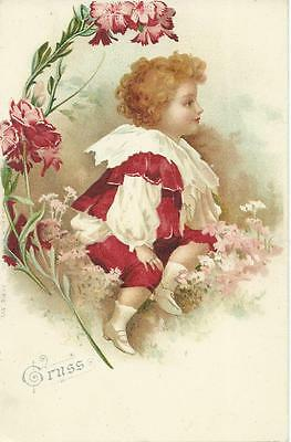 Ellen Clapsaddle ( unsign)  Boy in Red & frilled lace  Early Gruss PC