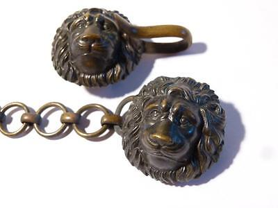 Antique Pair of Brass LION HEADS & CHAIN from Police Military Coat Cloak #V69