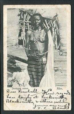 1905 Posted Aden -- Soudanese Woman (Poor Condition) (The Card)