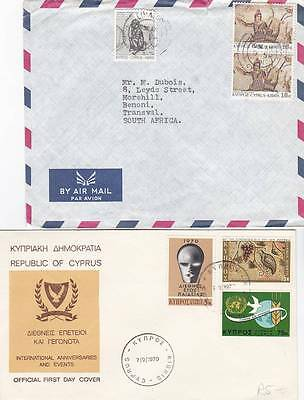 A Lot Of Two Cyprus Covers 1 First Day Cover And 1 Airmail To South Africa 29*