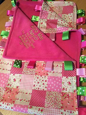 XL PERSONALISED PINK PATCHWORK//PRAM TAGGY BLANKET//GIFT//GIRL