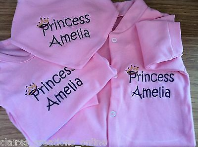 Personalised Princess/prince Sleepsuit/babygrow,vest/bodysuit, Bib,boy/girl Gift