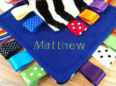 Personalised Taggy Blanket/comforter/gift In Blue