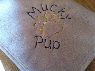 Personalised Embroidered Fleece Pet,Puppy,Dog,Cat,Kitten Paw Blanket,10 Colours