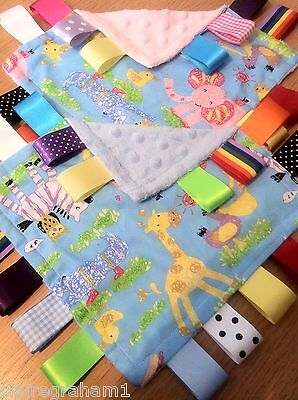 Zoo Animal Baby/Toddler Taggy Blanket/Comforter/Gift *****Many Options*****