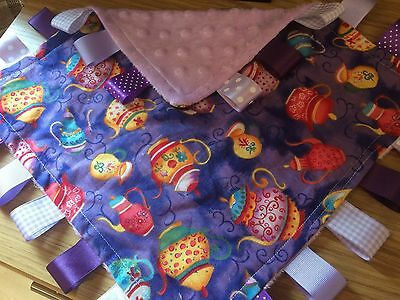 Lilac Dimple Dot/Teapot Baby/Toddler Taggy Blanket/Comforter/Gift