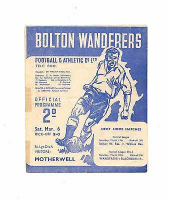 1947 -1948  Rare Friendly  Bolton Wanderers v Motherwell