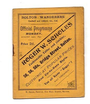 1897  Bolton Wanderers Official Programme for Cycling - Athletics day