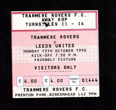 1990-1991 Friendly Tranmere Rovers v Leeds United  Ticket