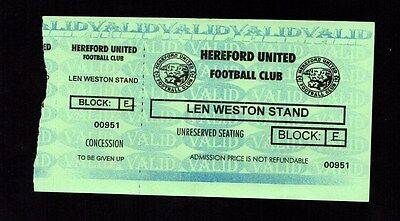 2002-2003 Friendly Hereford United v Tranmere Rovers Ticket