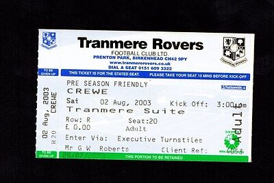 2003-2004 Friendly Tranmere Rovers v Crewe  Ticket