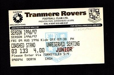 1996-1997 Friendly Tranmere Rovers v Stockport County Ticket