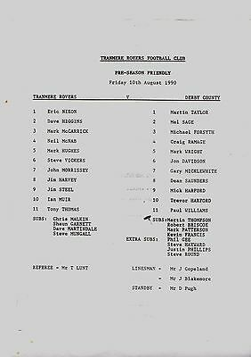 1990-1991 Friendly Tranmere Rovers v Derby County