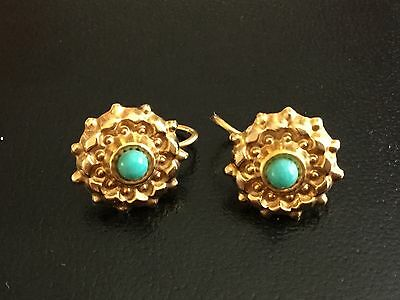 Antique Vintage 9ct solid YELLOW GOLD and TURQUOISE ORNATE DANGLY HOOK EARRINGS