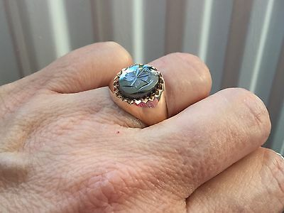 Heavy Vintage 9ct solid gold gents ring haematite saracens head  wt 6g R NEW