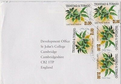 Trinidad and Tobago Nice commercial cover with 5 x $1 flower stamps- attractive