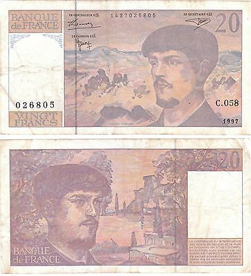 France Banknote - 20 Vingt Francs from 1997 - Claude Debussey