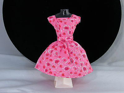 Barbie Doll Clothes Pink Glitter Roses Party Dress Floral Red White Mattel Tag