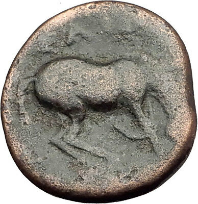 LARISSA Thessaly Genuine 360BC Authentic Ancient Greek Coin NYMPH & HORSE i62333
