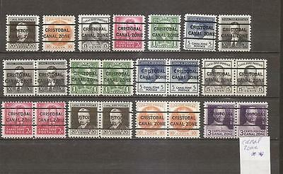15- Usa  Timbres Canal Zone Preobliteres Neufs Mnh**